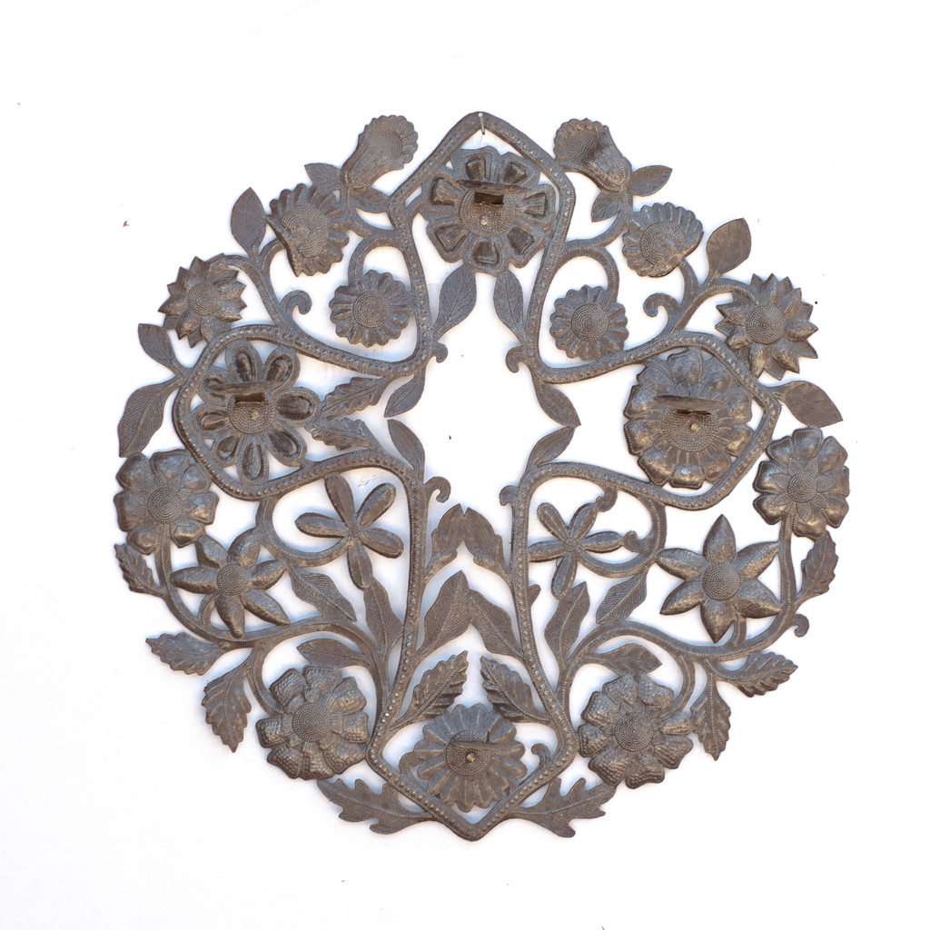 Cross, Flowers, Floral Art, Candle Holder, Metal, Steel, Oil Barrels, Handcrafted, Handmade, Sustainable, Eco-Friendly, Recycle, Recyclable