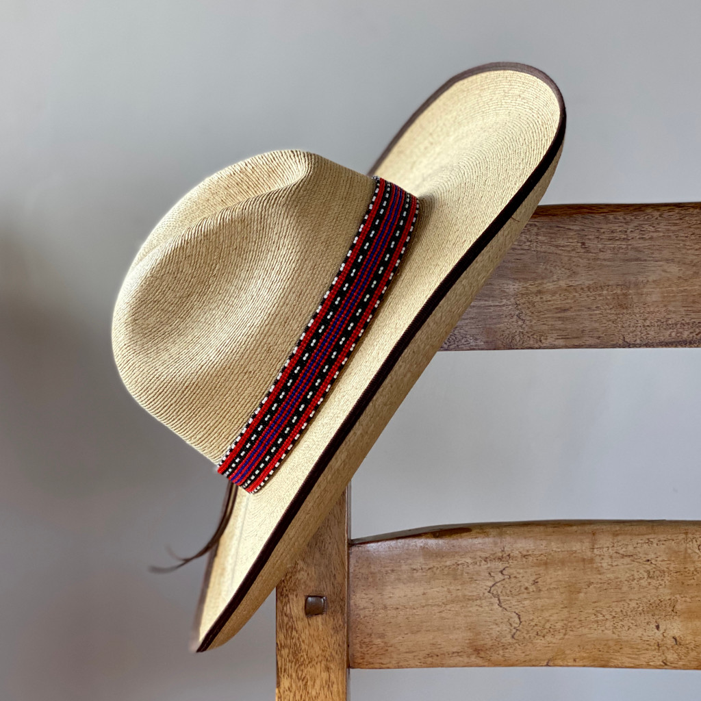 Beaded Hat Band, 1 Inch Wide Hatband, Hat Accessory, Leather Ties, Men, Brown, Red, Blue and Black Mayan Design, Handmade in Guatemala