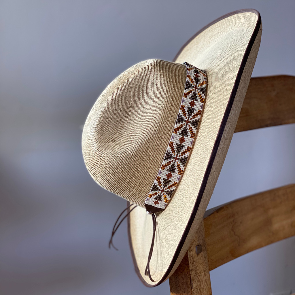 Western Hat Hatband, Earth Tones Seed Beads with Leather Ties 38 Gray Brown and Cream