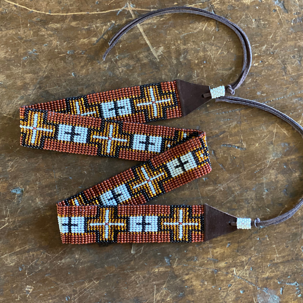 Beaded Western Style Hat Band, 1 Inch Wide Hatband, Hat Accessory, Leather Ties, Mayan Design, Handmade in Guatemala (Wide Hatband 37)