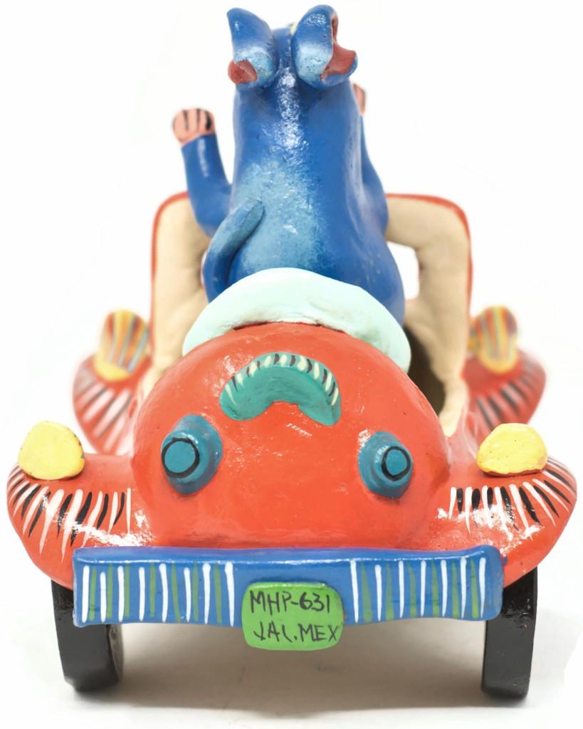 """Gerardo Ortega - Mexican Folk Art Blue Dog in a Orange Car 6.5"""" x 6.75"""" x 5"""" Ortega 21"""