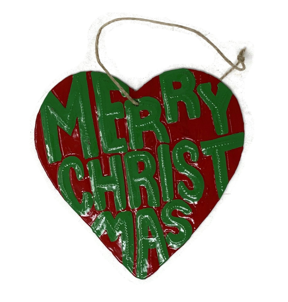 Christmas Ornaments, Merry Christmas, Hand Painted Heart Shaped Ornament, Decorative Haitian Artwork 4.25 x 4.5 Inches