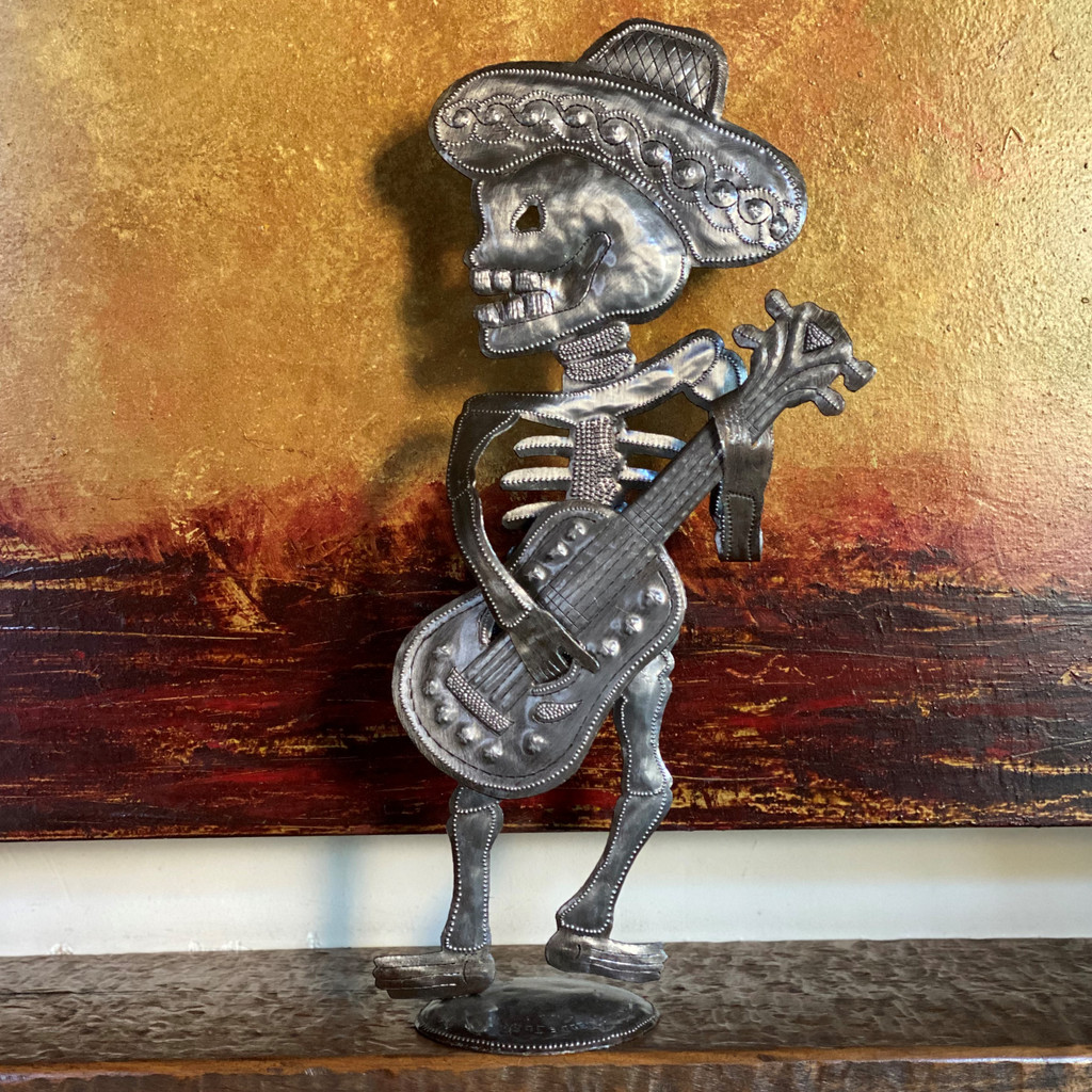 Day of the Dead Skeleton Guitar Player, Mariachi, Free standing, Recycled metal Sculptures from Haiti, 17 x 8 x 4 Inches