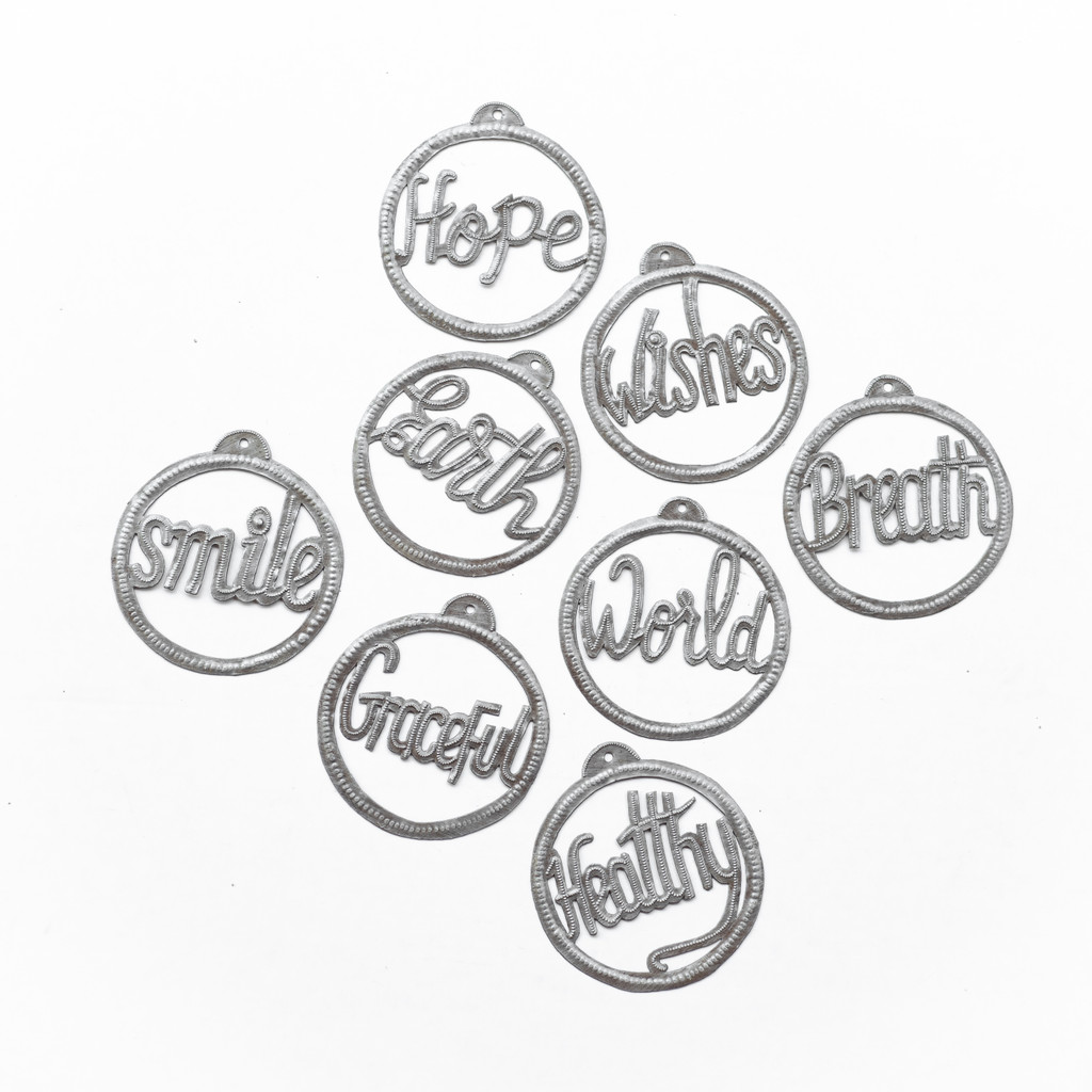 Hope, Wishes Breath, World, Earth, Smile, Grateful, Healthy, Ornaments, X-mas, Christmas, Xmas, Holiday, Christmas Tree, Winter, Metal, Fair Trade, One-of-a-Kind, Handcrafted, Handmade, Sustainable, Eco-Friendly, Recycle, Recyclable