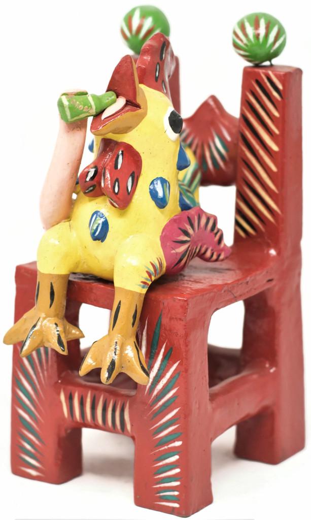 """Gerardo Ortega - Mexican Folk Art, Rooster on Chair Drinking a Beer, 9"""" x 3.5"""" x 4"""" Ortega 39"""