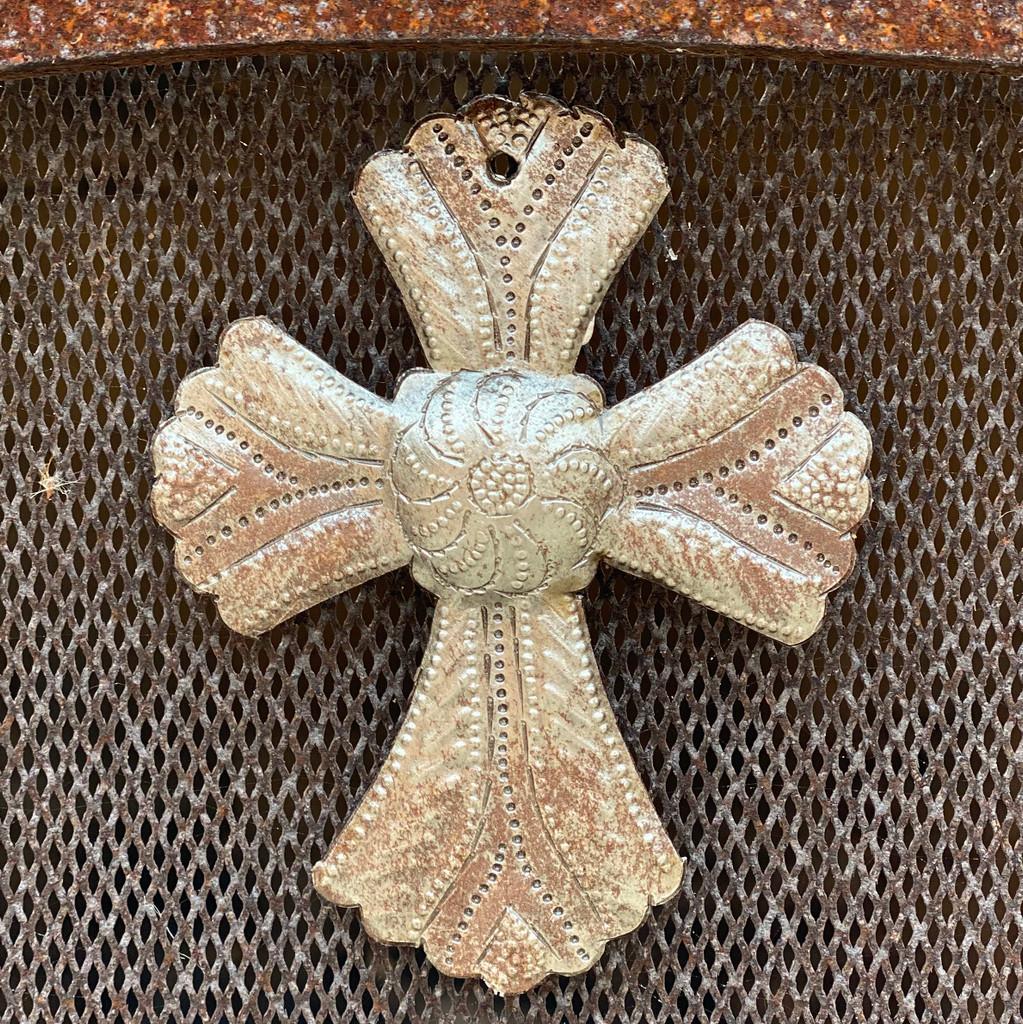 "Metal Wall Art, Milagro Sacred Cross, Take Your Worry Away, Ornamental, Gift tag, Handmade in Haiti 3.5"" x 4.5"" (SM446-Indiv-B)"