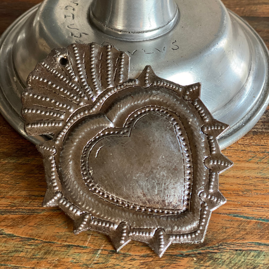 """Metal Wall Art, Milagro Sacred Heart, Take Your Worry Away, Ornamental, Gift tag, Handmade in Haiti 3.75"""" x 3"""" (SM446-Indiv-D)"""