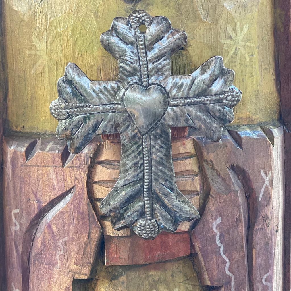 "Metal Wall Art, Milagro Sacred Cross, Take Your Worry Away, Ornamental, Gift tag, Handmade in Haiti 3.5"" x 4.5"" (SM446-Indiv-I)"