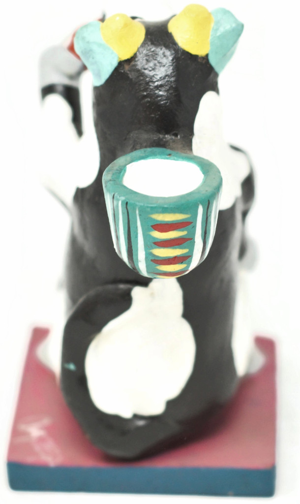 "Beer Drinking Cow Candle Holder, One of a Kind, Handmade in Mexico, Ortega Family, 5.5"" x 3"" (Ortega 69)"