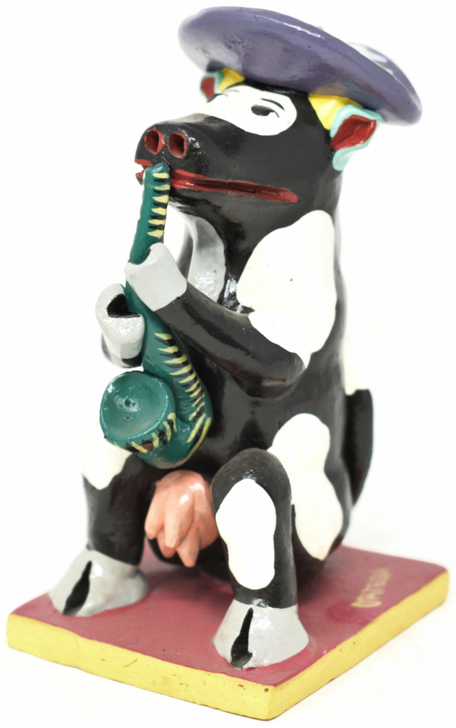 Sax Playing Cow, FIesta Table Top Decor