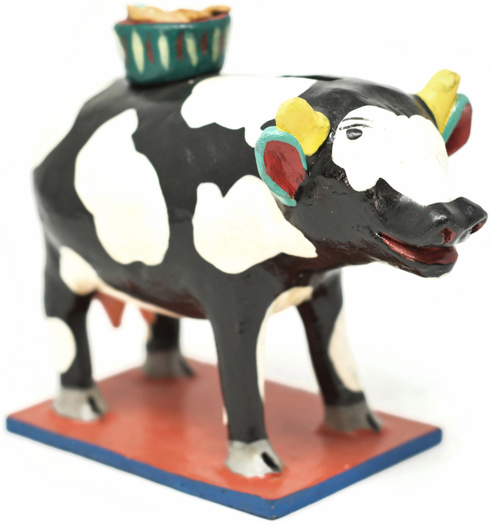Piggy Bank Cow WIth a Basket of Fish