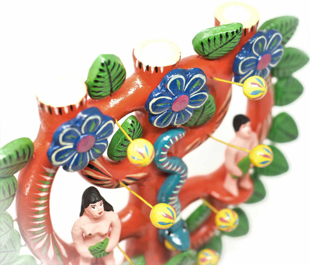 "Adam and Eve Candlabra, One of a Kind, Handmade in Mexico, Ortega Family, 13"" x 12"" x 4"" (Ortega 93)"