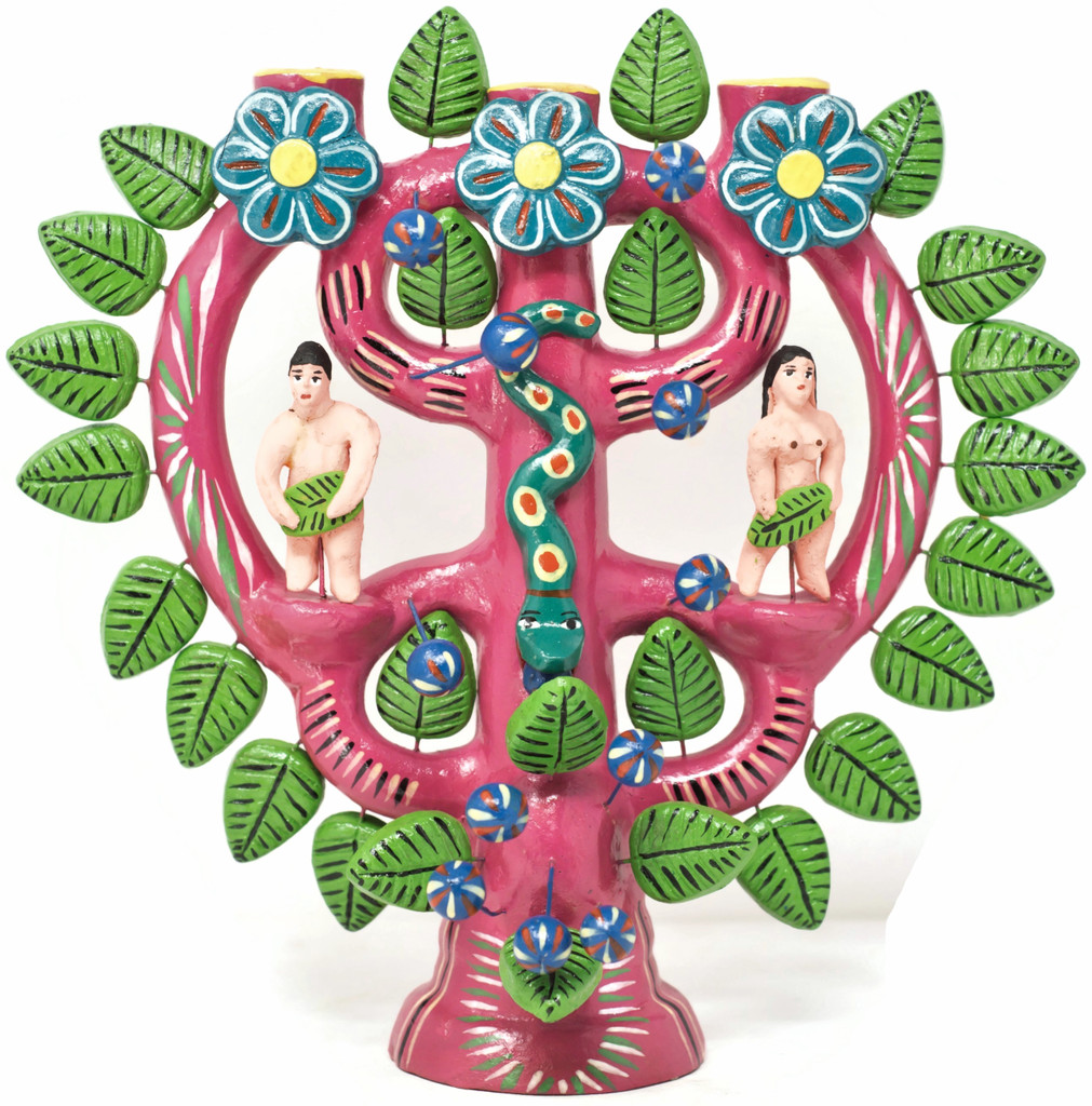 Bright Pink Adam and Eve in the Garden of Eden