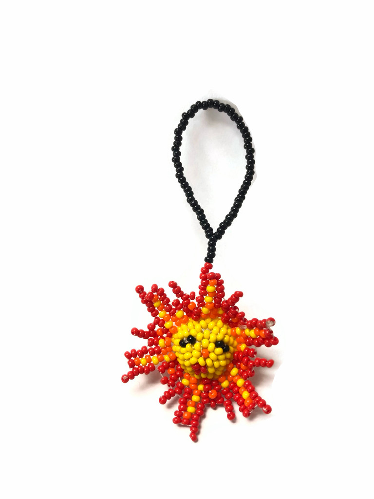 Mini Sun, Beaded Ornamental Figurine, Beaded Sunburst, Smiling Sun, Holiday Decoration, Handmade  1.5 Inches Key Chain, Key Ring