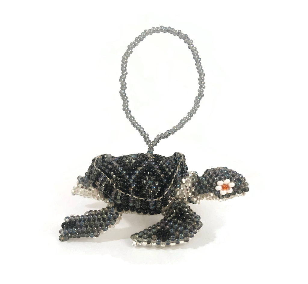 Sea Turtle Hand Beaded Ornament made in Guatemala Hanging Figurine 2.5""