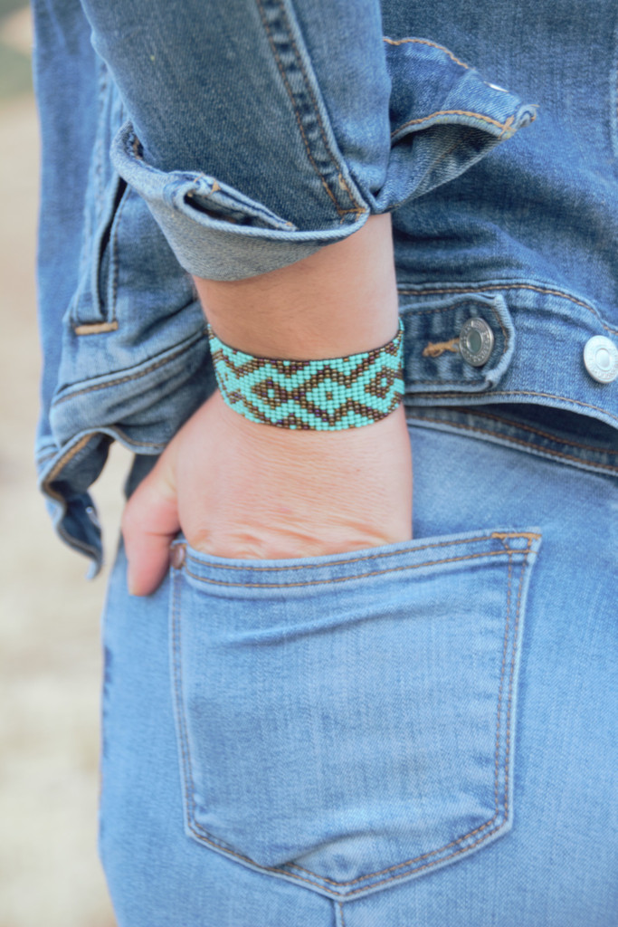 Handmade Beaded Bracelet, Stacking Bracelets, Turquoise and Brown, Multi Color Beads, Friendship Gift, Native American Inspired Loom