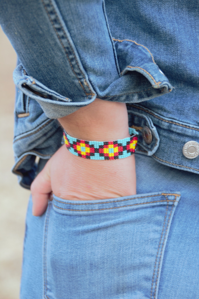 Beaded Handmade Bracelet, Teal, Yellow, and Purple, Gift Giving Jewelry, Friendship Bracelets .75 X 7.75 Inches