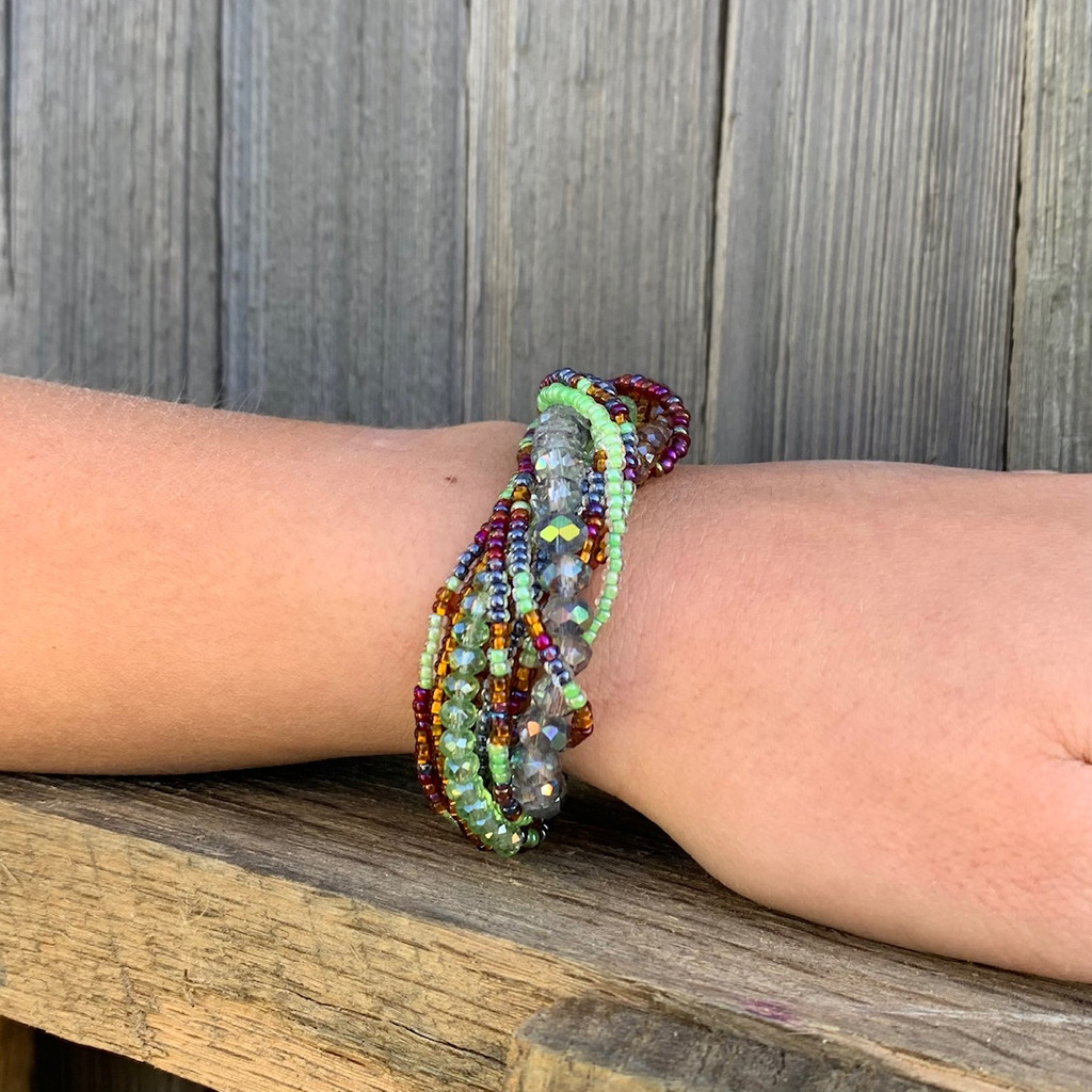 Bracelet Made with Seed Beads, Multi Strand, Purple and Green Multi color Beads, Magnetic Clasp 1 x 7.25 IncheS