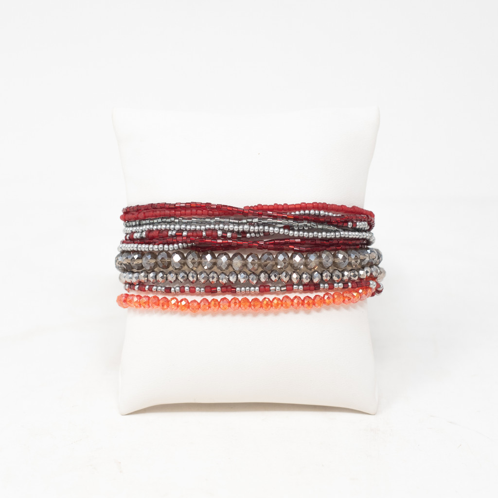 Bracelet Made with Seed Beads, Multi Strand, Red and Silver, Multi color Beads, Magnetic Clasp 1 x 7.25 Inches