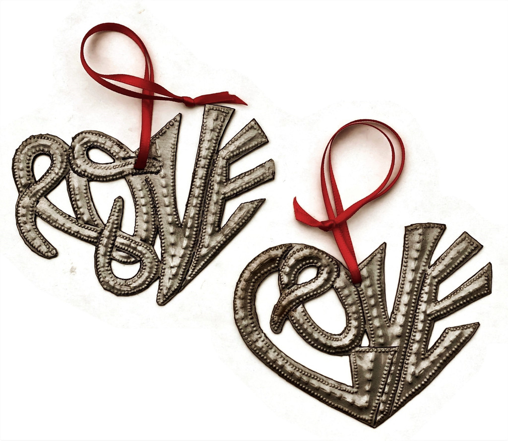 Love Hearts, Positive, Hope, Metal Wall Art, Milagro Sacred Heart, (Set of 2) Haitian Metal, Recycled Steel 4 x 3 Inches