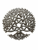 Celtic Knot Symbol, Tree of life Wall Hanging Art, Authentic Upcycled Artwork from Haiti, Handmade from Recycled Barrels, 13.75 Inches Roun