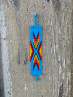 Handmade Wristband Bracelets, Handcrafted Jewelry, Beaded Woven Bracelet, Casual Appeal Multi Colored Blue, Stack 1.5 x 8 Inches