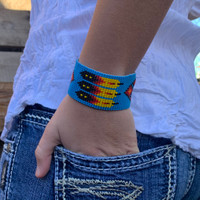 Handmade Wristband Bracelets, Handcrafted Jewelry, Beaded Woven Bracelet, Casual Appeal Multi Colored Turquoise Color Beads, 1.5 x 8 Inches