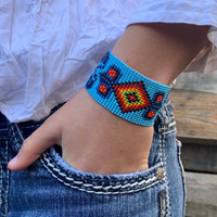 Handmade Bracelets, Handcrafted Jewelry, Beaded Woven Bracelet, Blue Multi Colored Beads, Casual Wristband 1.25 x 7.5 Inch