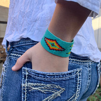 Handmade Bracelets, Handcrafted Jewelry, Beaded Woven Bracelet, Turquoise Green Multi Colored Beads, Casual Wristband 1.25 x 7.5 Inch