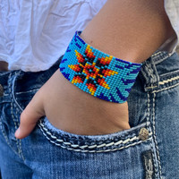 Blue Beaded Wristband Bracelet with Flower Design, Handcrafted, Casual Bracelets, Loom, Jewelry 1.25 x 7.5 inch