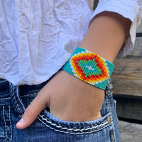 Turquoise Beaded Wristband Bracelet, Handcrafted, Casual Bracelets, Loom, Jewelry, Multicolored Seed Beads 1.25 x 7.5 inch