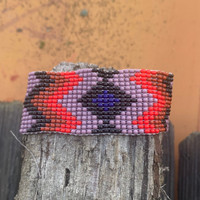 Casual Bracelets, Loom, Jewelry, Seed Beads, Mauve Wristband with Red, Brown and Black Color Beads, Handmade 1 x 7 inch