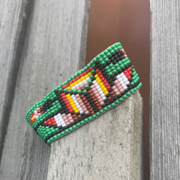 Casual Bracelets, Loom, Jewelry, Seed Beads, Green Wristband with Multi Color Beads, Flower Motifs, Handmade 1 x 7 inch