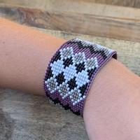 Beaded Bracelets, Mauve Bracelet with Gray, White, and Black Seed Beads, Wristband Jewelry, Handmade, 1.25 x 7.5 Inch