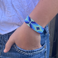 Hand Woven Southwestern Style Bracelets, Beaded Bracelet, Casual Jewelry, Mint Green and Blue Seed Beads, Stack.75 x 7.25 Inches