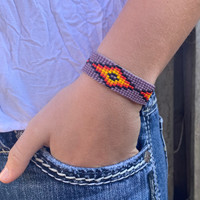 Hand Woven Southwestern Style Bracelets, Beaded Bracelet, Casual Jewelry, Purple and Orange Seed Beads, Stack .75 x 7.25 Inches