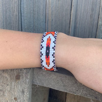 Hand Woven Southwestern Style Bracelets, Narrow Beaded Bracelet, Casual Jewelry, White, Purple, Orange Seed Beads, Stack .75 x 7.25 Inches
