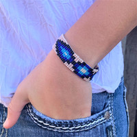 Hand Woven Southwestern Style Bracelets, Narrow Beaded Bracelet, Casual Jewelry, Tan and Blue Seed Beads, Stack .75 x 7.25 Inches