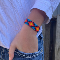 Hand Woven Southwestern Style Bracelets, Narrow Beaded Bracelet, Casual Jewelry, Blue, Orange, Black Seed Beads, Stack .75 x 7.25 Inches