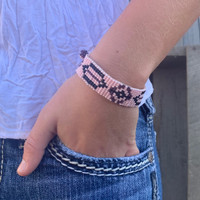 Handmade Beaded Bracelet, Western Look, Casual Jewelry, Stack Bracelets, Pink and Purple Seed Beads, Friendship .75 x 7.25 Inches