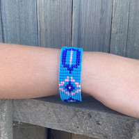 Handmade Beaded Bracelet, Western Look, Casual Jewelry, Stack Bracelets, Pink and Blue Seed Beads, Friendship .75 x 7.25 Inches