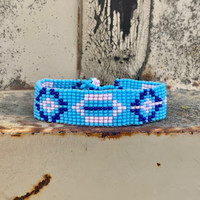 Handmade Beaded Bracelet, Western Look, Casual Jewelry, Stack Bracelets, Blue, White, and Pink Seed Beads, Friendship .75 x 7.25 Inches