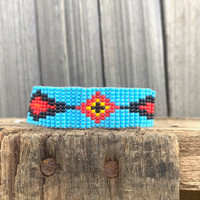 Handmade Beaded Bracelet Western Look Casual Jewelry Stack Bracelets Turquoise, Yellow, Red, and Brown Seed Beads, Friendship .75 x 7.25
