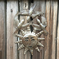 "Birds and Sun Haiti Metal Garden Patio Yard Art 8"" x 11"""