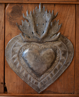Metal Flaming Milagro Heart