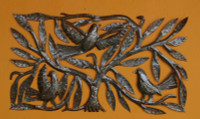 it's cactus metal art haiti, tree with birds,