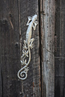 Gecko Climbing the wall, haiti metal art, indoor and outdoor, steel drum art, patio, garden