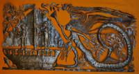 large mermaid and boat in the sea, Haitian Metal Wall Art