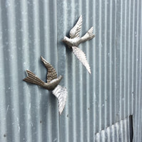 SIDE VIEW OF BIRDS METAL WALL ART