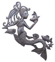 Mermaid talking to a fish. wall art